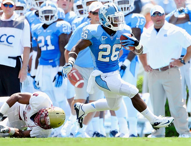 A do-it-all back, Bernard rushed for 1,228 yards, caught 47 passes for 490 yards and returned 16 punts for 263 yards in 2012. The speedy Tar Heel reached the end zone 19 times. Bernard does have lingering injury questions after tearing his ACL in 2010 and experiencing knee discomfort this past season.