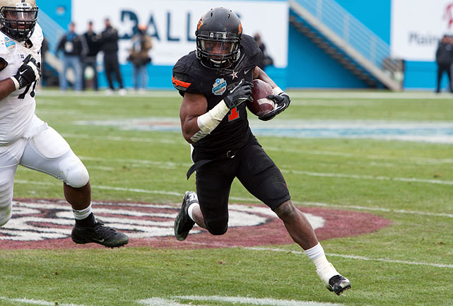 A second big season convinced Randle to forego his senior year and jump to the NFL. After gaining 1,216 yards on the ground in 2011, Randle rushed for 1,417 yards last season. He's also capable of catching balls out of the backfield with 108 career receptions at Oklahoma State for 917 yards. Scouts like his ability to pass protect, too. He sometimes struggles with keeping his pad height low, which could diminish his effectiveness at the next level.