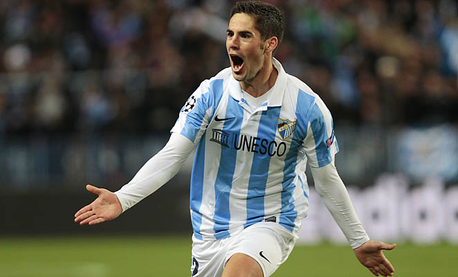 Isco Alarcon celebrates after scoring his goal in the 43rd minute for Malaga.