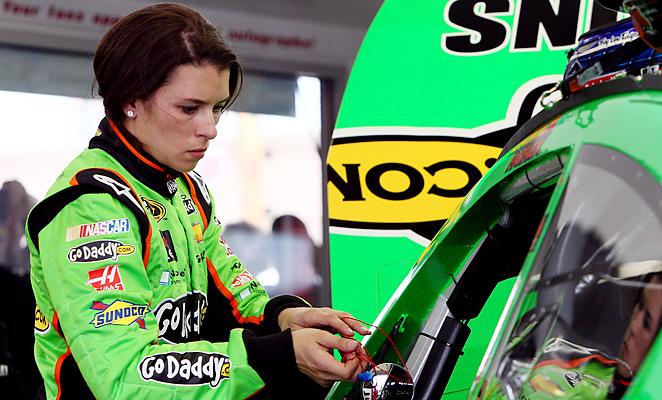 Danica Patrick inspects her car during testing for the recent NASCAR Sprint Cup race in Las Vegas.