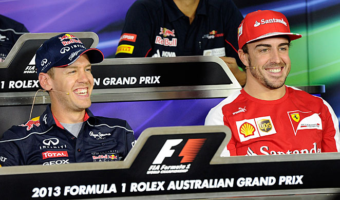 Sebastian Vettel (left) is likely in for another challenge from Fernando Alonso (right) for the F1 title.