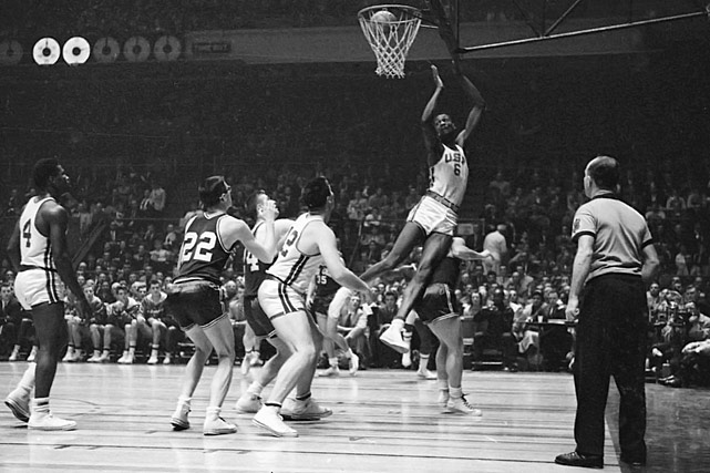 Led by Bill Russell, the Dons rolled to a then-record 60 straight wins, racking up two national titles and an undefeated season along the way. In the process they changed the game, breaking ground by starting three black players and emphasizing oppressive defense.