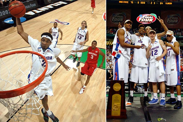 The dominating starters of Florida's '06 championship team returned for more in '07 and wouldn't be denied. Corey Brewer, Taurean Green, Al Horford , Lee Humphrey and Joakim Noah became the first starting five to repeat as national champions and the first back-to-back champions in over 15 years.