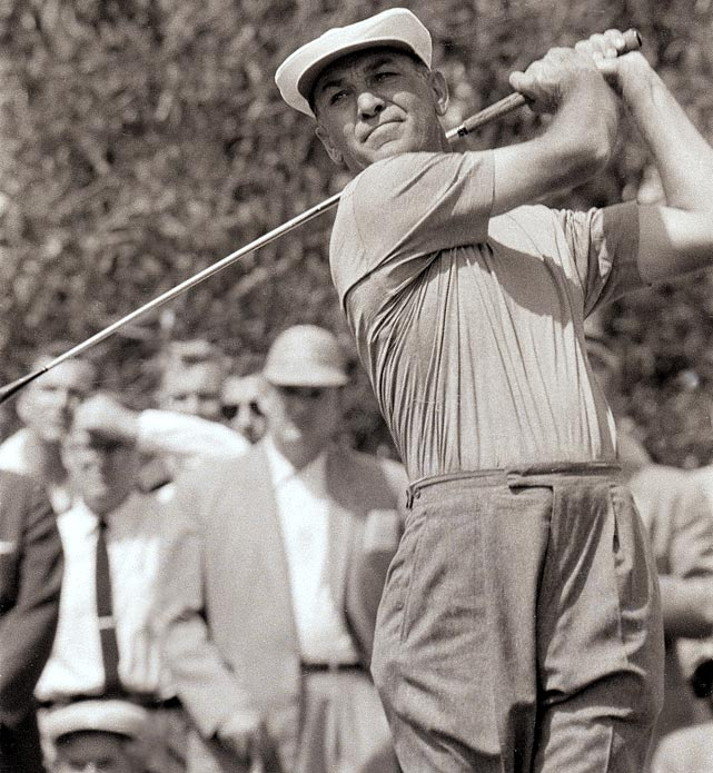 A nine-time major champion, Hogan honed his game on the course so much he was said to have invented golf practice. He recorded 68 professional wins, including 64 on the PGA Tour, fourth most all time. Hogan became the first golfer to win three majors in a year and could have won four had the PGA Championship not overlapped with the British Open in 1953. That year Hogan won five of the six tournaments he entered.