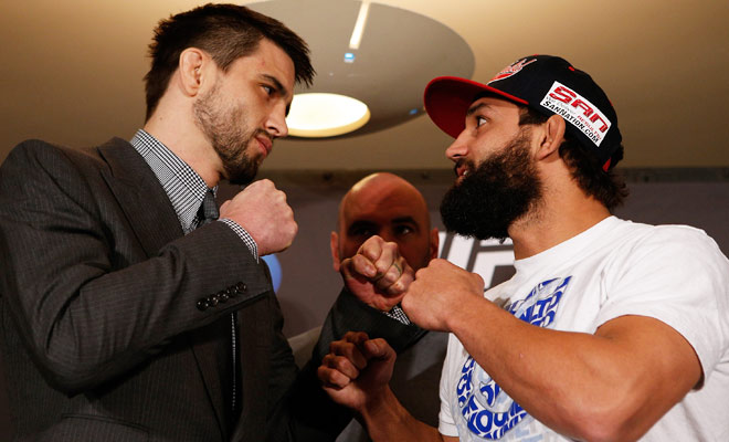 Johny Hendricks (right) will fight Carlos Condit, Georges St-Pierre's most recent opponent, on Saturday.