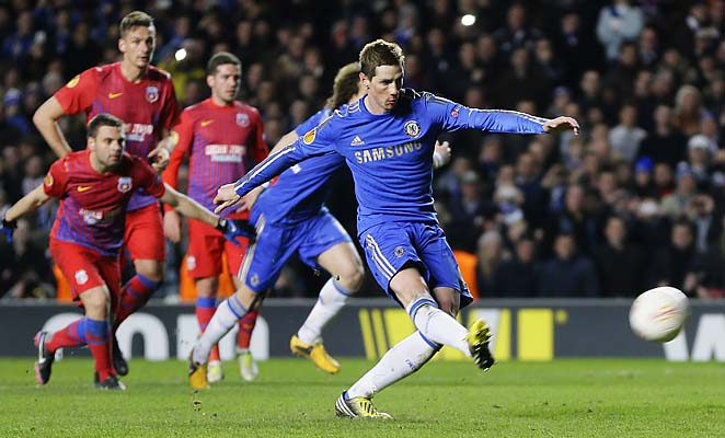 Fernando Torres and Chelsea beat Steaua Bucharest in the round of 16.