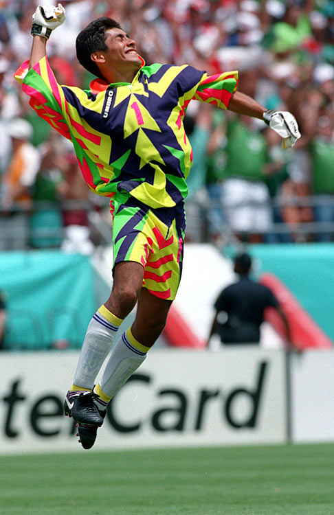 Whatever the Mexican goalkeeper had in soccer ability, he lacked in fashion sense.