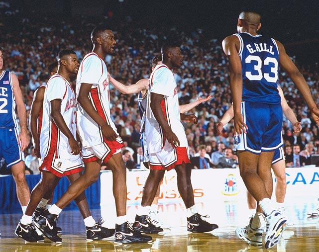 The Blue Devils avenged their 30-point loss to the Runnin' Rebels in the national title game the year before. Duke had to end UNLV's 45-game winning streak to do it, prevailing 79-77 and earning a second chance at the championship in the process.