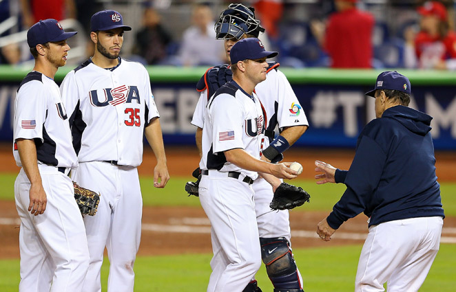 Vinnie Pestano (center) couldn't get an out while giving up three runs in the U.S. loss to Puerto Rico.