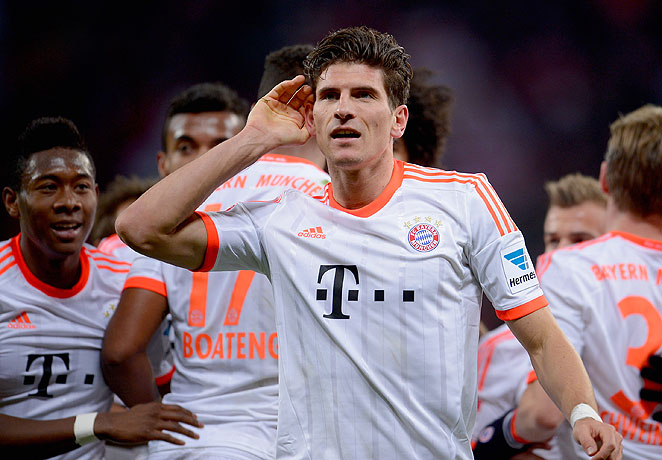 Bayern Munich's Mario Gomez put his side ahead with a goal in the 37th minute against Leverkusen.