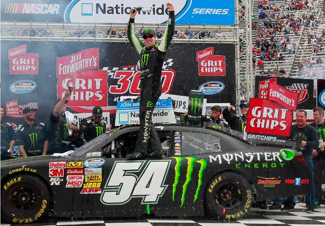 Kyle Busch had reason to celebrate after outlasting Kyle Larson at Bristol Motor Speedway.