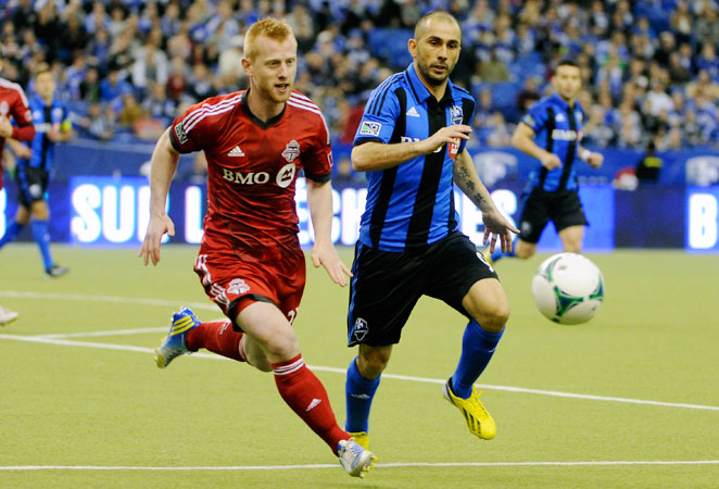 Marco Di Vaio scored the winning goal for Montreal Impact in their 2-1 win over Toronto FC on Saturday.
