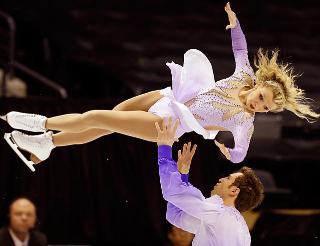 Kirsten Moore-Towers and Dylan Moscovitch perform during the pairs free program at the World Figure Skating Championships on March 15 in London, Canada. The Canadian pair just missed out on a medal, placing fourth in the competition with a combined score of 199.50.