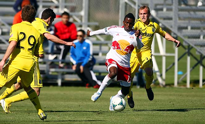Marius Obekop played for the Red Bulls during the preseason.