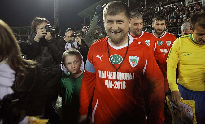 Musa Sadulayev seen before a friendly game between Chechnya and Brazil in the stadium in Grozny, Russia, in 2011.