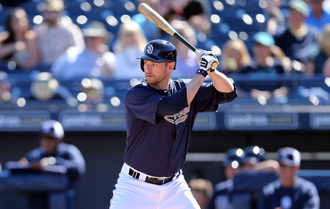 Third baseman Chase Headley will miss the first two weeks of the season for the Padres after breaking his thumb while trying to break up a double play.