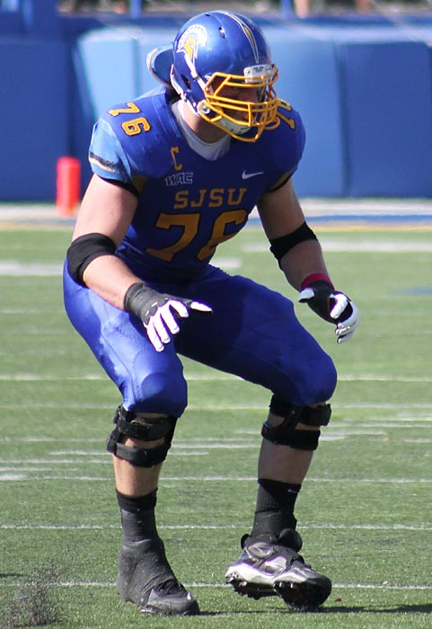An offensive tackle at San Jose State, Quessenberry is probably best suited as a guard in the NFL. That plays to his advantage in this draft stocked with quality offensive tackles. Quessenberry helped himself out immensely with his play at the Senior Bowl, likely jumping up a round or two. He has a wide base and added 60 pounds to his frame throughout college to improve his strength, helping him overcome his decent, though not extraordinary athleticism.