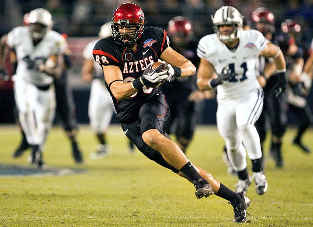 In a productive two-year period, Escobar caught 93 passes for 1,323 yards and 13 touchdowns at San Diego State. Escobar can get open on seam routes and has great hands. However, his blocking is nowhere near on par with his receiving and prevented him from starting for half of the season in 2011.