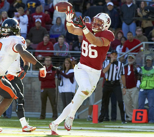 Ertz led Stanford in receiving last season, catching 69 passes for 898 yards and six touchdowns. His numbers could have been even better if not for the Cardinal's quarterback issues, forcing a starter change midway through the season. Ertz put on 30 pounds during his time at Stanford, adding to his strength in blocking. He is somewhat prone to drops and his short arms have also raised some concerns.