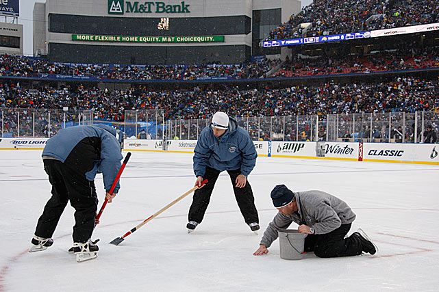 "At times, the ice in the specially-constructed rink had to be repaired, which made for some lengthy delays. ""The only tough part was snow buildup on the ice,"" said Sabres winger Jason Pominville. ""At times there was a lot of snow, and it made it hard for guys to stickhandle and shoot."""