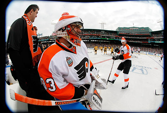 Flyers goalie Brian Boucher spent the game on the bench watching starter Michael Leighton stretch a shutout streak to 154 minutes 7 seconds before he was beaten by Boston's Mark Recchi with 2:18 to go in the third period. The goal tied the game at 1-1.