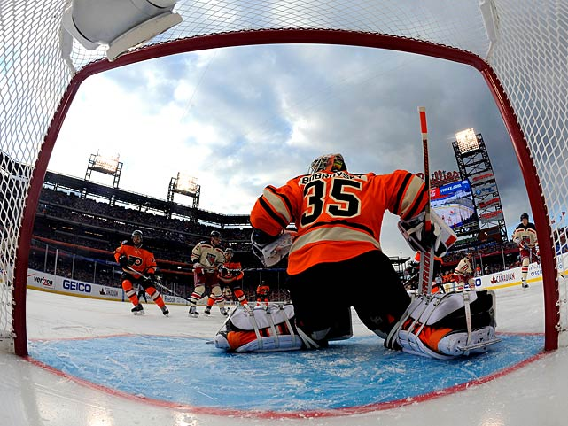 "Flyers goalie Sergei Bobrovsky got the start over Ilya Bryzgalov, who became a star for his musings on the universe on HBO's ""24/7 Road to the Winter Classic"" series."