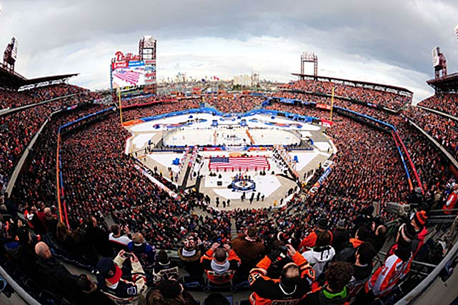 Citizens Bank Park hosted the fifth edition, drawing a boisterous crowd of 46,967 for an Atlantic Division rivalry match between the Flyers and New York Rangers.