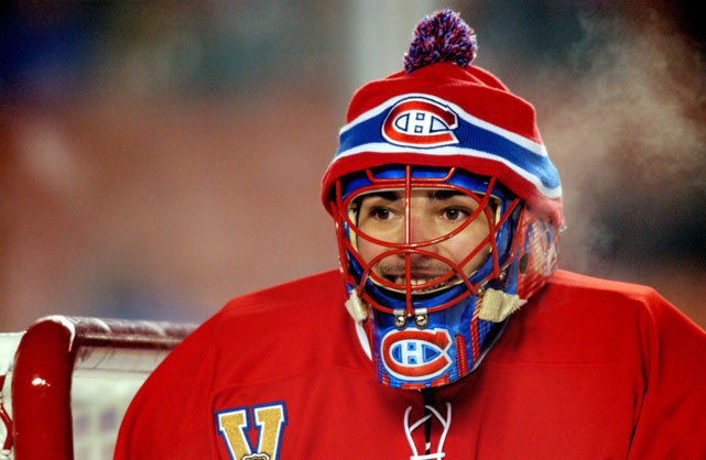 Canadiens goalie Jose Theodore, who made 34 saves in the game, sported a toque in an attempt to stay warm.