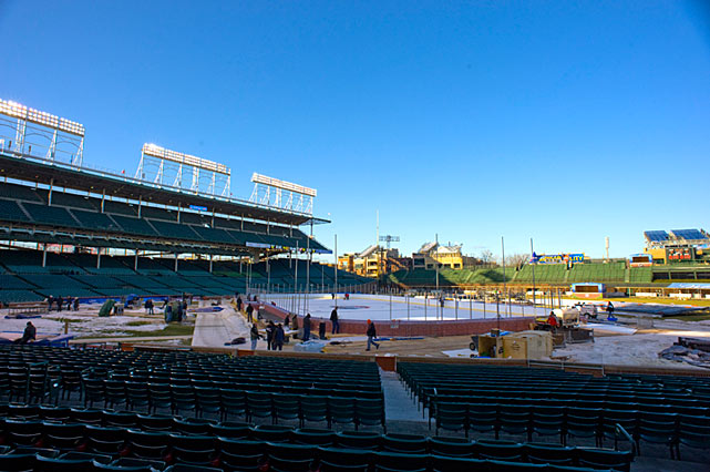 The second edition of the Winter Classic was held in the cozier confines of a baseball stadium: Wrigley Field. The conversion to hockey required 20,000 gallons of water cooled by a huge refrigeration truck that was parked out on Sheffield Ave.
