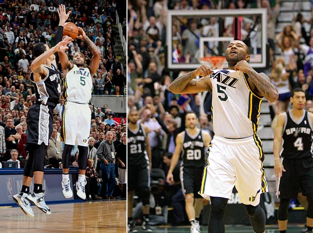 The Jazz point guard made his only three-pointer of the night count, as his shot near the top of the key over Danny Green gave Utah a 99-96 home victory.
