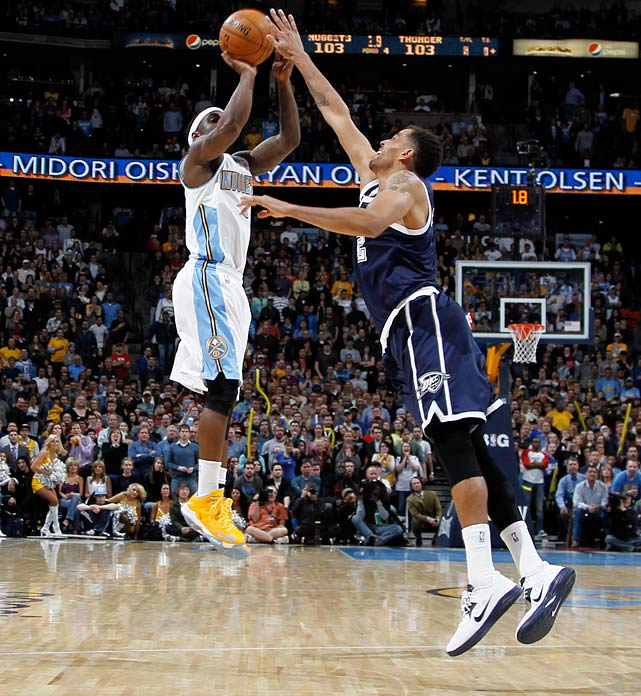 Wilson Chandler matched his career high with 35 points, but it was Lawson who played the role of hero for Denver against Oklahoma City. Lawson hit a jumper from the right wing over Thabo Sefolosha with 0.2 seconds left to give the host Nuggets a 105-103 victory.