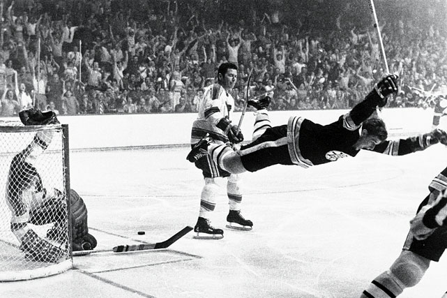 This iconic photo of Orr captures him in mid-flight moments after scoring the overtime goal against St. Louis in Game 4 of the 1970 Stanley Cup Final that gave the Bruins their first championship in 29 years. Orr was the first defenseman to ever be awarded the Conn Smythe Trophy as Playoff MVP. He scored 20 points in 14 games.