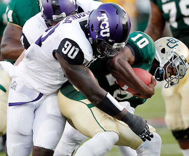 Maponga would have likely benefitted from staying at TCU for another year after a drop off in his production in his first year in the Big 12. He still made first-team All-Big 12 with four sacks, 6.5 tackles for loss and two forced fumbles in 11 games. Maponga creates good separation from his blockers but needs to better develop his pass-rushing moves. He demonstrated solid strength at the combine with 30 reps on the bench press.