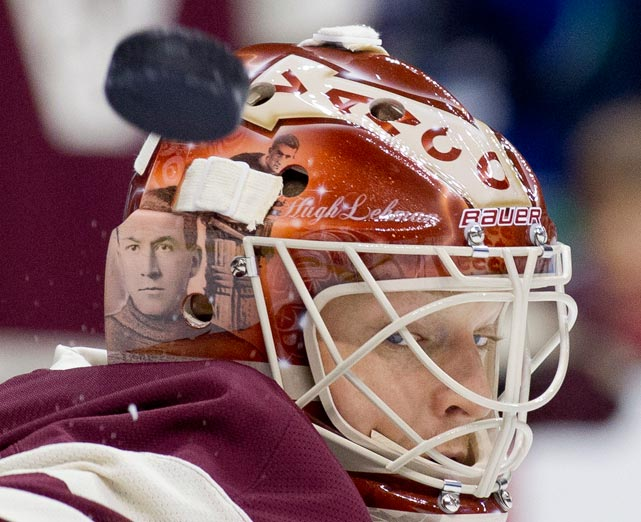 The Canucks' goaltender had something on his mind as he prepared to face the Red Wings.