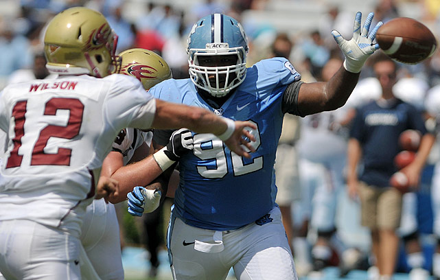 After a huge start to the 2012 season, Williams cooled off late. The North Carolina defensive tackle had five sacks in the first six games but got just one in the second half of the season. His overall numbers were still impressive as he finished the year with 42 tackles, 13.5 tackles for loss and six sacks. Williams has decent athleticism but will wear himself out chasing ballcarriers upfield.