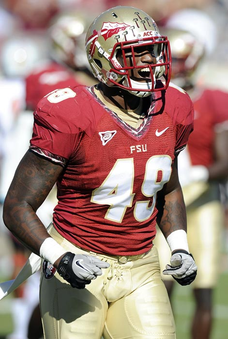 Jenkins missed all but the first game of the 2012 season with a broken foot but opted for the NFL rather than taking a medical redshirt and returning to Florida State. He had 12 tackles for loss and eight sacks in 2011, down from 21.5 and 13.5, respectively, in 2010. He dropped roughly 10 pounds from his listed weight at Florida State as he prepares to move from defensive end to linebacker, although some question whether he has the quickness and a good enough ability to change directions to make the position switch.