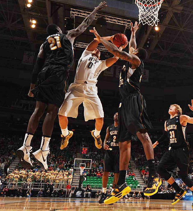 It was an aerial battle as freshman guard James Robinson leapt for the basket in Pitt's game against Wichita State.