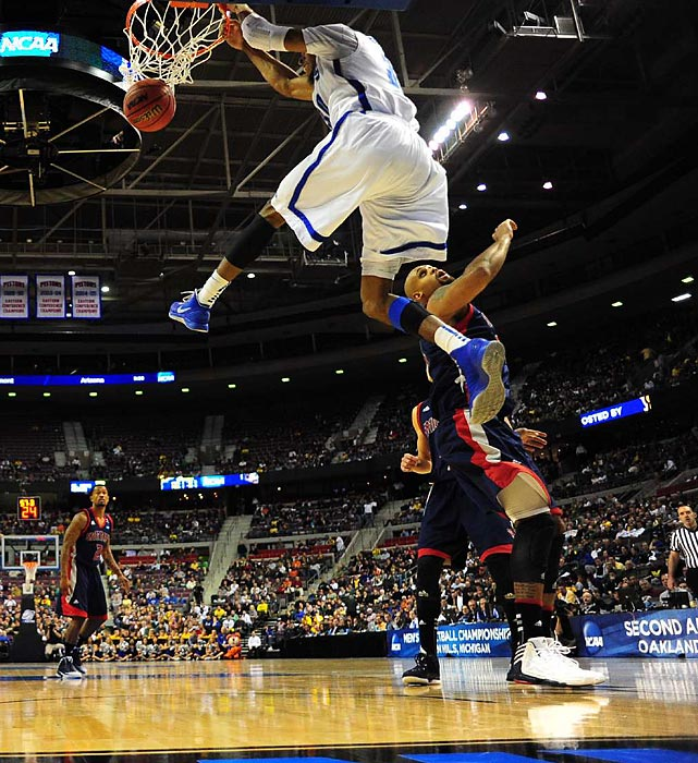 D.J. Stephens slammed home this high-flying dunk to send a message to Saint Mary's in Memphis' tournament opener.