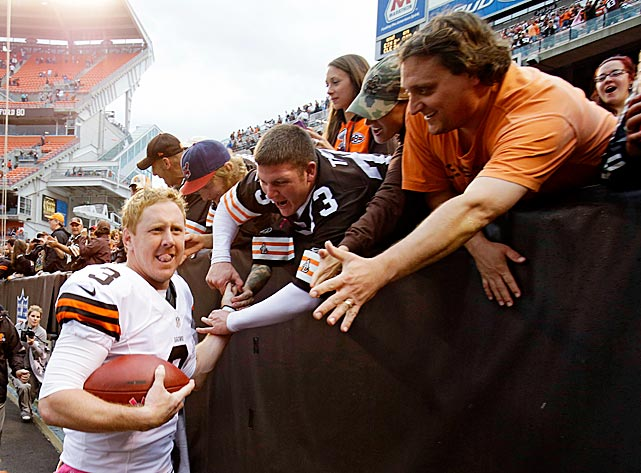 After losing his first five games as a rookie, Brandon Weeden earned his first NFL career victory on the day that he turned 29. Weeden threw two touchdown passes in the 34-24 win over Cincinnati, helping to snap an 11-game Browns losing streak that dated to the 2011 season.