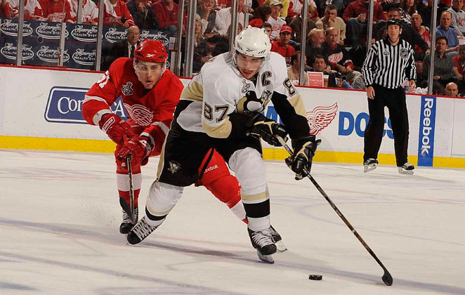 The NHL has worked hard to eliminate head hits like the one Sidney Crosby (right) suffered in the 2011 Winter Classic.