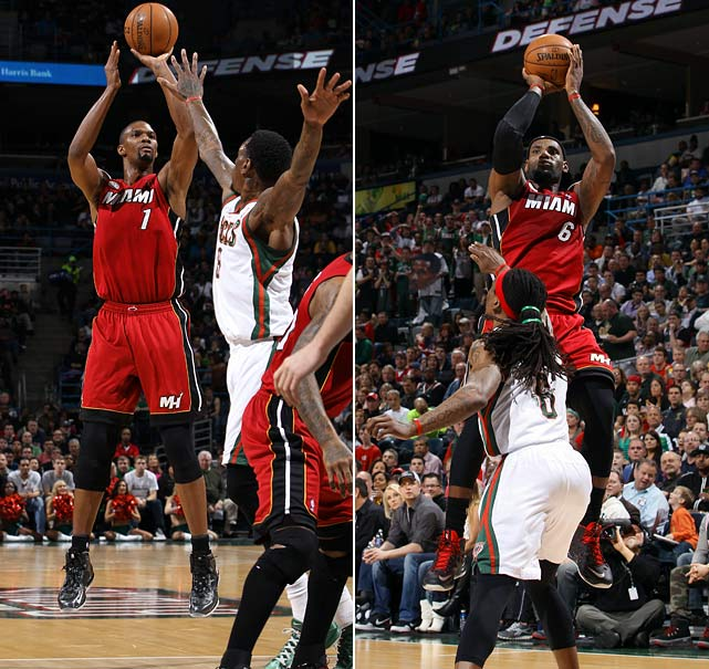 Chris Bosh matched LeBron James with 28 points and the Heat held Milwaukee to 37.1 percent shooting.