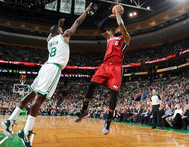 Miami overcame Jeff Green's 43-point performance and a 17-point deficit (its largest during the streak at the time) for victory No. 23 in a row, dropping the 2007-08 Rockets to the third-longest streak in NBA history. LeBron James had 37 points, 12 assists and seven rebounds. He also made the go-ahead jumper with 10.5 seconds left and had a memorable dunk over Jason Terry.