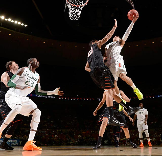 Shane Larkin, Miami's 5' 11'' sophomore, wasn't afraid to get physical either, earning himself 10 points and 9 assists.