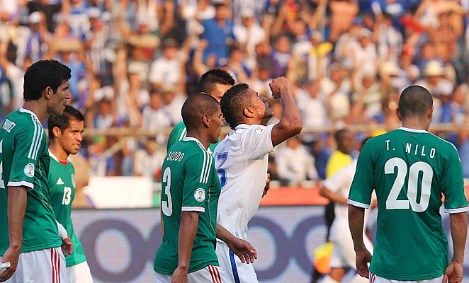 Carlo Costly celebrates a goal against Mexico in the teams' 2-2 draw in World Cup qualifying on Friday.