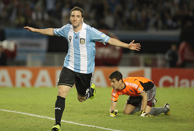 Gonzalo Higuain scored two goals for Argentina in their win over Venezuela in World Cup qualifying.
