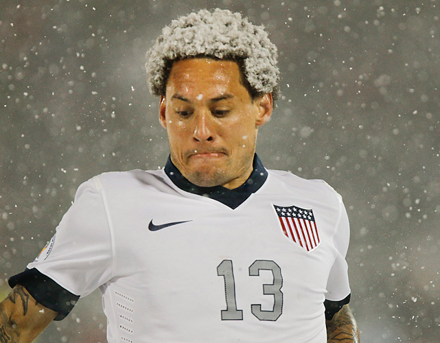 U.S. midfielder Jermaine Jones gets some unique highlighting thanks to the inclement weather.