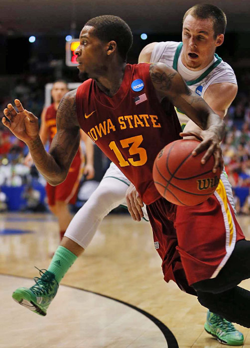 Iowa State's Korie Lucious drives to the basket. Lucious had six points in the game.