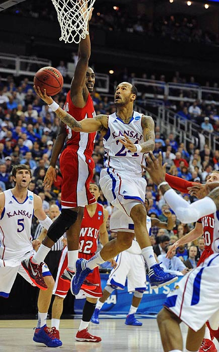 Kansas' Travis Releford goes in for a layup against Western Kentucky.