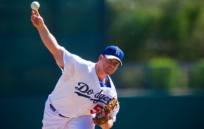 Chad BIllingsley pitches for the Dodgers in a February spring training game.