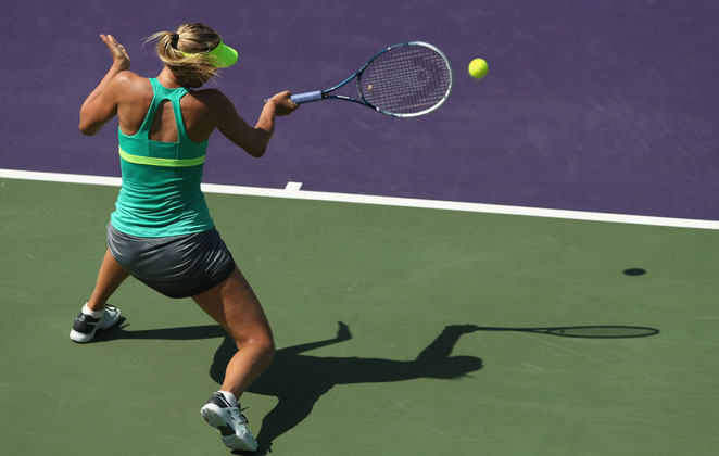 No. 3-seeded Maria Sharapova took care of Elena Vesnina 6-4, 6-2 to advance to the fourth round of the Sony Open.
